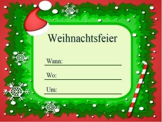 einladung zur weihnachtsfeier muster, Einladung